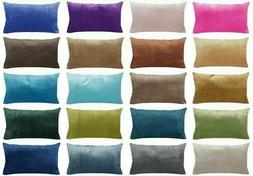 "12x20"" Soft Velvet Solid Multi-Color Throw PILLOW COVER Sofa"