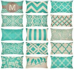 """12x20"""" Turquoise Blue Linen Geometry Throw PILLOW COVER Sofa"""