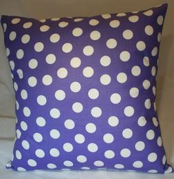 """16"""" Throw Pillow Cover ~  Large White Polka Dots on Plum Pur"""