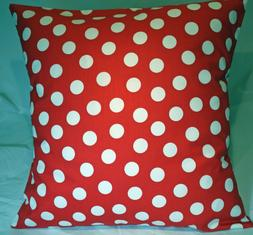 """16"""" Throw Pillow Cover ~  Large White Polka Dots on Strawber"""