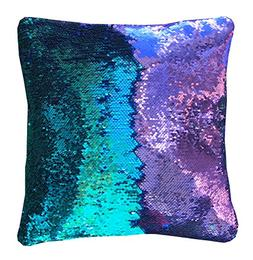 """16""""x16"""" with INSERT Mermaid Sequin Pillow that Changes Color"""