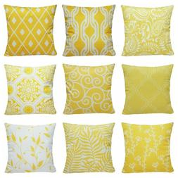 "16x16"" Lemon Yellow Pillow Case Sofa Car Waist Throw Cushion"