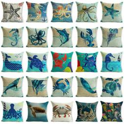 "18"" Blue Sea Animal Cotton Linen Sofa Cushion Cover Throw Pi"