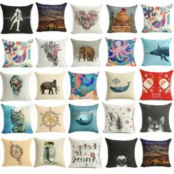 18'' cotton Linen Blend Throw Pillow Case Living Room Cushio