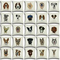 "18"" Dog Linen Decor Cotton Throw Pillow Case Sofa Cushion Co"