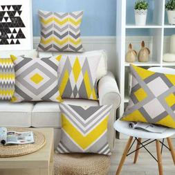 18''Geometric Yellow Cushion Cover Square Pillow Cases Throw
