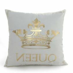 18 18 Inch Gold Queen Crown Home Bronzing Flannel Throw Pill