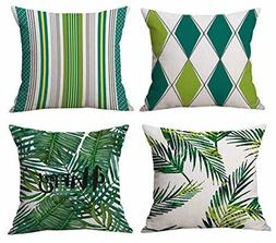 Geepro 18 inch Tropical Leaves Throw Pillow Cover Square Cus