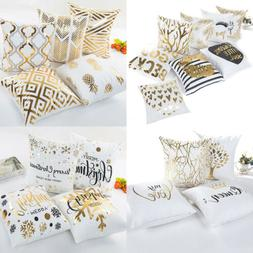 """18"""" Letter Gold Foil Printing Pillow Case Throw Cushion Cove"""