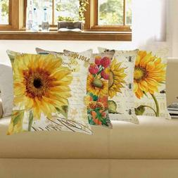 "18"" Sunflower Cotton Linen Pillow Case Waist Throw Sofa Cush"