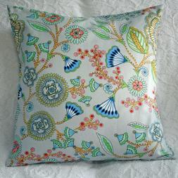 """18"""" Throw Pillow Cover ~  Large Blue Pink Green Floral on Gr"""