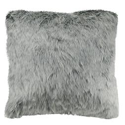 "18"" White and Gray Faux Fur Super Plush Throw Pillow"