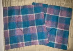Home Brilliant 18x18 2 Pack Pillow Covers Teal Purple Plaid