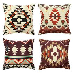 """18x18"""" Abstract Linen Throw PILLOW COVER Sofa Couch Bed Deco"""