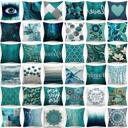 "18x18"" Cushion COVER Teal Blue White Double Sided Decorative"
