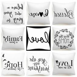 "18x18"" Throw Pillow COVER White Black 2-Sided Decorative Bed"