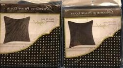 2-Decorative Throw Pillow Covers- Black With Gold Studs NWT