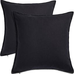 2 Pack Solid Black Decorative Throw Cushion Pillow Cover Cus
