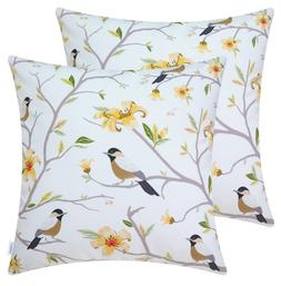 2 CaliTime Fleece Pillow Covers -  Brown Chickadees -Gold Fl