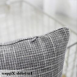 """2 Kevin Textile Grey Faux Linen Throw Pillow Covers 24"""" X 24"""