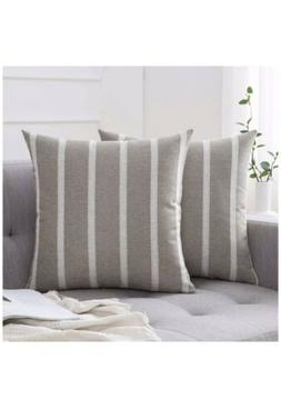Miulee 2 Modern Striped Throw Pillow Covers Cushion Linen 18
