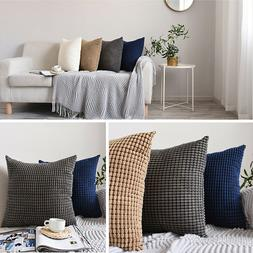 2 Pack Corduroy Throw Pillow Covers Square Cushion Case for