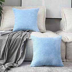 HOME BRILLIANT 2 Pack Supersoft Square Textured Throw Pillow