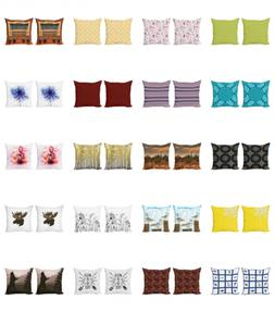 Ambesonne 2 Set Square Throw Pillow Case Printed Indoor Outd