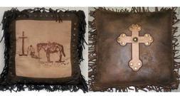 2 Western Throw Pillows Praying Cowboy & Monterrey Cross Rus