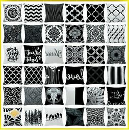 "20x20"" Black White Velvet Decorative Throw PILLOW COVER 2-Si"