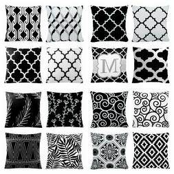 "22x22"" Black & White Accent Throw PILLOW COVER Sofa Bed Home"