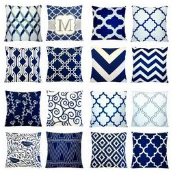 24x24 navy blue accent decorative throw pillow