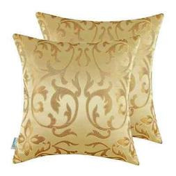 2Pcs CaliTime Florals Gold Jacquard Cushion Cover Throw Pill