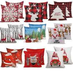 "2PCS 18 x 18"" Christmas Throw Pillow Covers Couch Cases Cott"