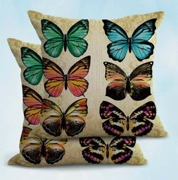 2PCS  butterfly cushion cover outdoor throw pillow covers