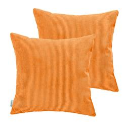 2Pcs Calitime Pillow Covers Cases Home Decor Orange Corduroy