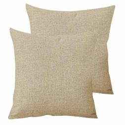 2pcs/Set Square Textured Linen Throw Pillows Sofa Cushion Co