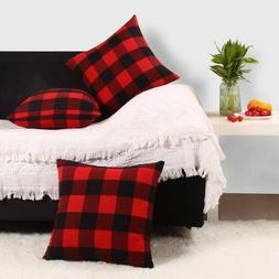 2 Throw Pillow Covers Red Black Buffalo Plaid Christmas Home