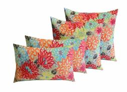 "4 Indoor/Outdoor Pillows - 17"" x 17"" Square & 12"" x 20"" Rect"