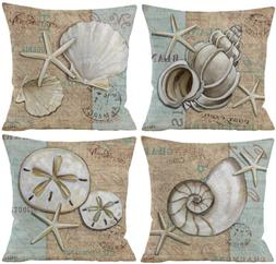 4 Pack Decorative Coral and Sea Shells Throw Pillow Cover, C