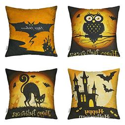 4 Packs Happy Halloween Square Pillowcases - 18 X 18 Inch Ha