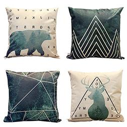 HIPPIH 4 Packs Square Pillow Cover - 20 X 20 Inch Decorative