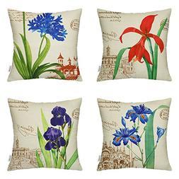 HIPPIH 4 Packs Throw Pillow Cases - Cotton Linen Sofa & Bed