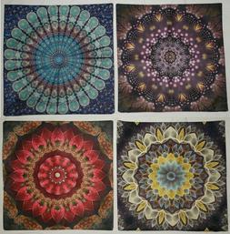 4 Throw Pillow Sham Covers 18x18 Colorful Medallions New *