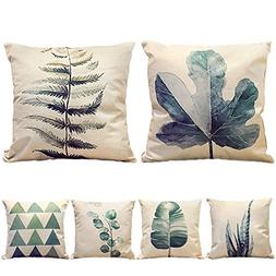HIPPIH 6 Packs Square Pillow Cover - 18 X 18 Inch Decorative