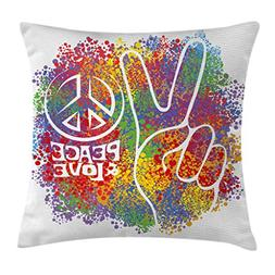 Ambesonne 70s Party Throw Pillow Cushion Cover, Hippie Peace