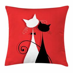 """""""Ambesonne Cat Throw Pillow Cushion Cover, Lover Kitty Silho"""