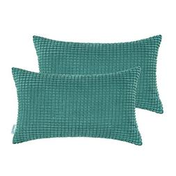CaliTime Pack of 2 Comfy Bolster Pillow Covers Cases for Cou