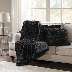 Comfort Spaces Faux Fur Throw Blanket Set – Fluffy Plush B