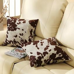Cowhide Leather Print Set Of 2 Throw Pillows Cow Hide Couch